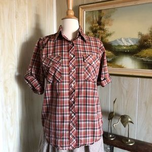 1960's Plaid Button Down Casual Top